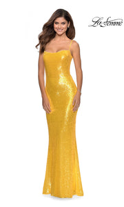 La Femme LF28937 long yellow prom tight fitted sexy sequin beaded prom dress with open back & straight neckline with straps. This yellow sleek and sexy, low back formal full length evening gown is perfect for 2020 prom dresses