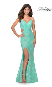 La Femme LF28983 long mint green prom tight fitted, v neck, lace sexy prom dress with open back. This light green v neck sleek and sexy, low back lace formal full length evening gown is perfect for 2020 prom dresses