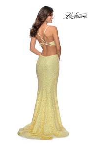 La Femme LF28983 long pale yellow prom tight fitted, v neck, lace sexy prom dress with open back. Back of this light yellow v neck sleek and sexy, low back lace formal full length evening gown is perfect for 2020 prom dresses