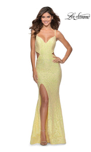 La Femme LF28983 long pale yellow prom tight fitted, v neck, lace sexy prom dress with open back. This light yellow v neck sleek and sexy, low back lace formal full length evening gown is perfect for 2020 prom dresses
