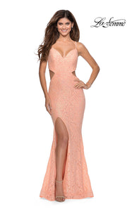 La Femme LF28983 long peach prom tight fitted, v neck, lace sexy prom dress with open back. This light orange v neck sleek and sexy, low back lace formal full length evening gown is perfect for 2020 prom dresses
