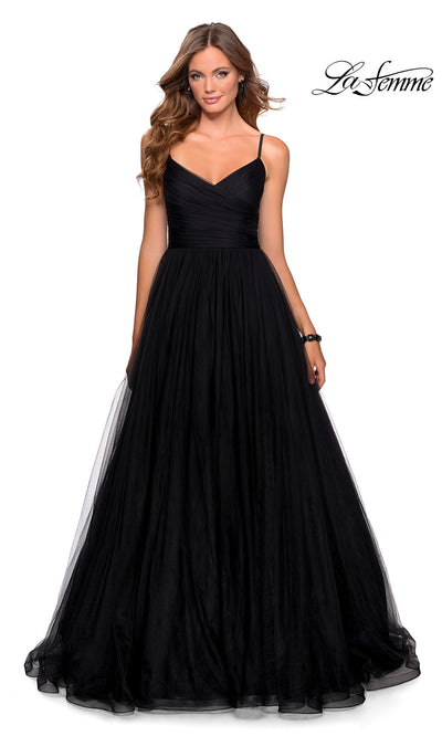 La Femme LF 28123 long black prom flowy tulle prom dress. This black princess semi ballgown a-line formal full length evening gown is perfect for 2020 prom