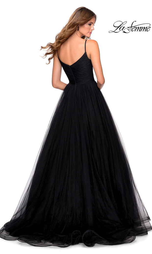 La Femme LF 28123 long black prom flowy tulle prom dress with high slit. The back of this black princess semi ballgown a-line formal full length evening gown is perfect for 2020 prom