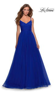 La Femme LF 28123 long electric blue prom flowy tulle prom dress with high slit. This royal blue or bright blue princess semi ballgown a-line formal full length evening gown is perfect for 2020 prom