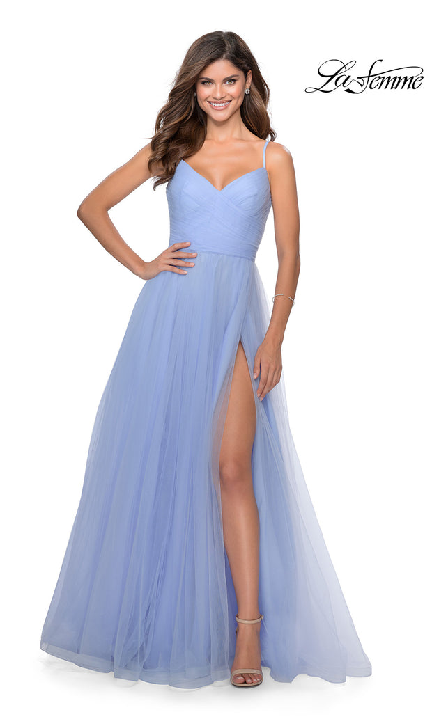 La Femme LF 28123 long lilac mist prom flowy tulle prom dress with high slit. This royal blue or bright blue princess semi ballgown a-line formal full length evening gown is perfect for 2020 prom