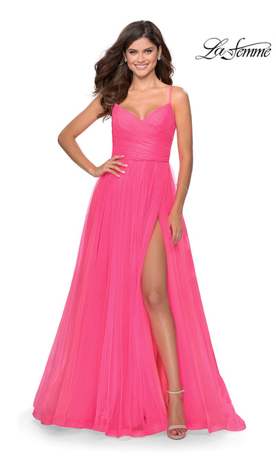 La Femme LF 28123 long neon pink prom flowy tulle prom dress with high slit. This bright pink or hot pink princess semi ballgown a-line formal full length evening gown is perfect for 2020 prom