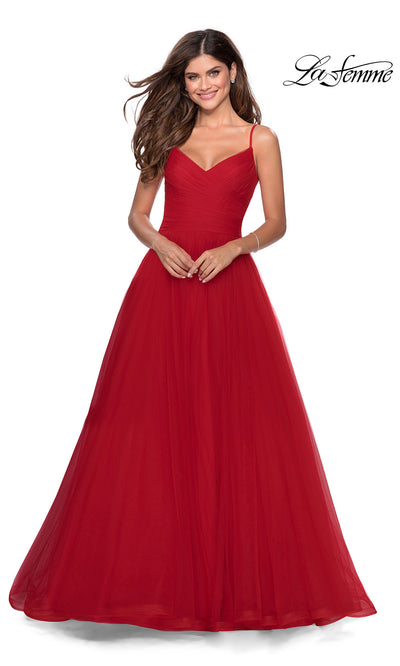 La Femme LF 28123 long red prom flowy tulle prom dress with high slit. This red princess semi ballgown a-line formal full length evening gown with leg slit is perfect for 2020 prom