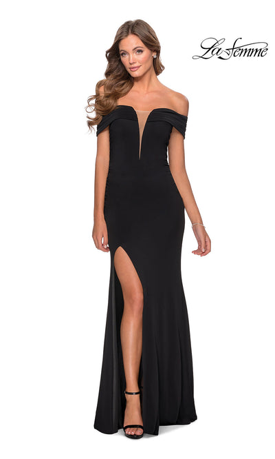 La Femme LF 28132 long black prom tight fitted sexy prom dress with high slit and off shoulder. This black sleek and sexy, low v neck formal full length evening gown is perfect for 2020 prom