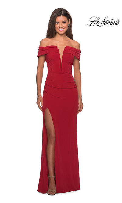 La Femme LF 28132 long deep red prom tight fitted sexy prom dress with high slit and off shoulder. This dark red sleek and sexy, low v neck formal full length evening gown with leg slit is perfect for 2020 prom