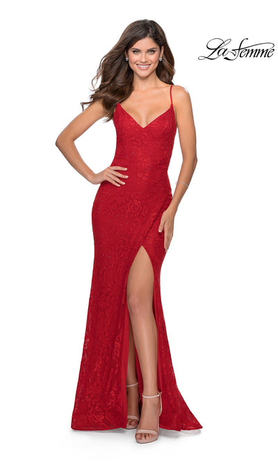 La Femme LF 28548 long red prom tight fitted sexy prom lace dress with open back, high slit, and v neckline. This red sleek and sexy, low back formal full length evening gown is perfect for 2020 prom