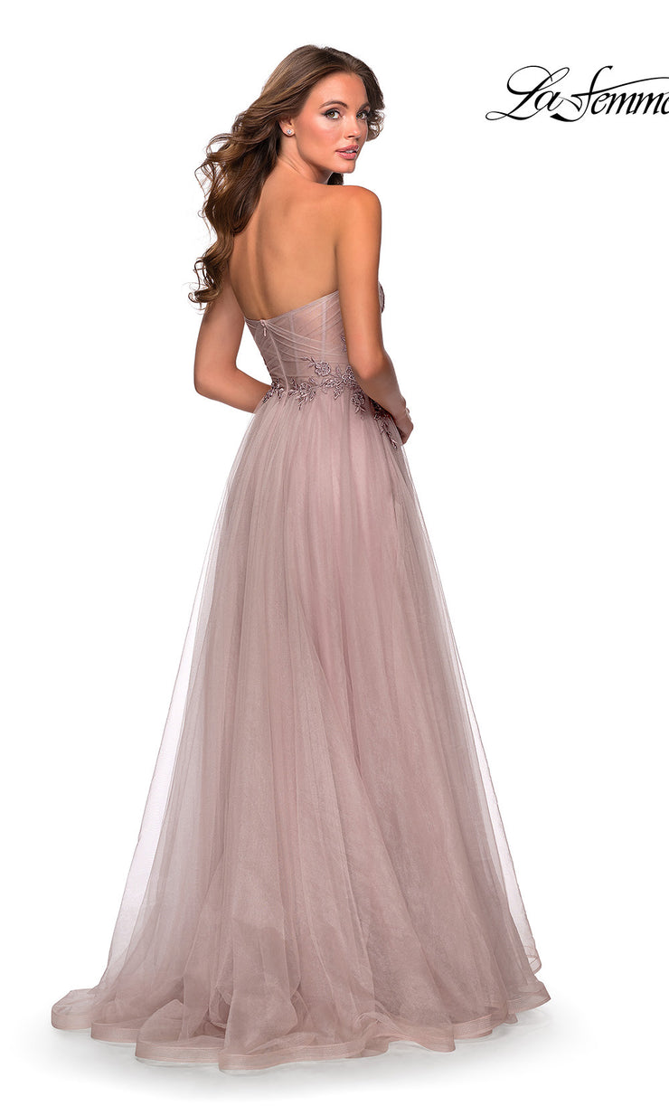 La Femme LF 28586 long dusty mauve prom flowy tulle prom dress with high slit, strapless neckline. Back of this light pink or dusty rose princess semi ballgown a-line formal full length evening gown is perfect for 2020 prom