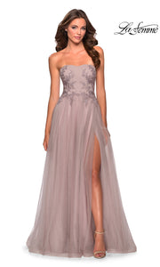 La Femme LF 28586 long dusty mauve prom flowy tulle prom dress with high slit, strapless neckline. This light pink or dusty rose princess semi ballgown a-line formal full length evening gown is perfect for 2020 prom