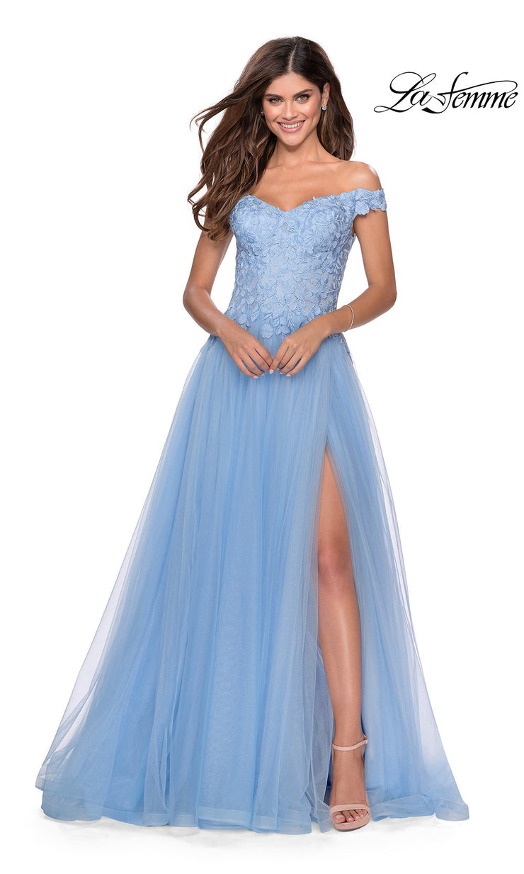 La Femme LF 28598 long cloud blue prom flowy tulle prom dress with high slit, off shoulder neckline. This light blue princess semi ballgown a-line formal full length evening gown is perfect for 2020 prom