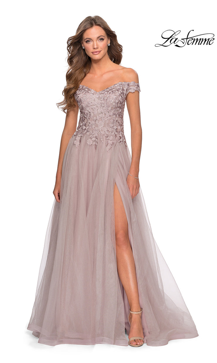 La Femme LF 28598 long mauve prom flowy tulle prom dress with high slit, off shoulder neckline. This light pink or dusty rose or light pink princess semi ballgown a-line formal full length evening gown is perfect for 2020 prom