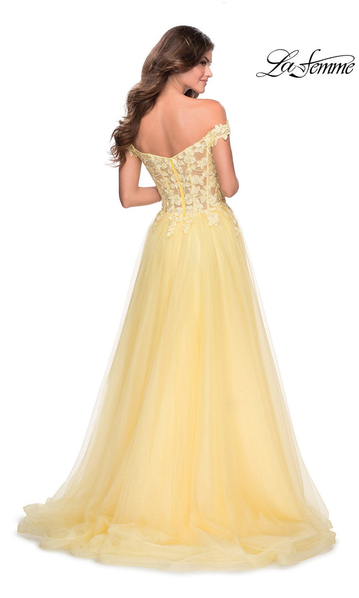 La Femme LF 28598 long pale yellow prom flowy tulle prom dress with high slit, off shoulder neckline. Back of this light yellow princess semi ballgown a-line formal full length evening gown is perfect for 2020 prom