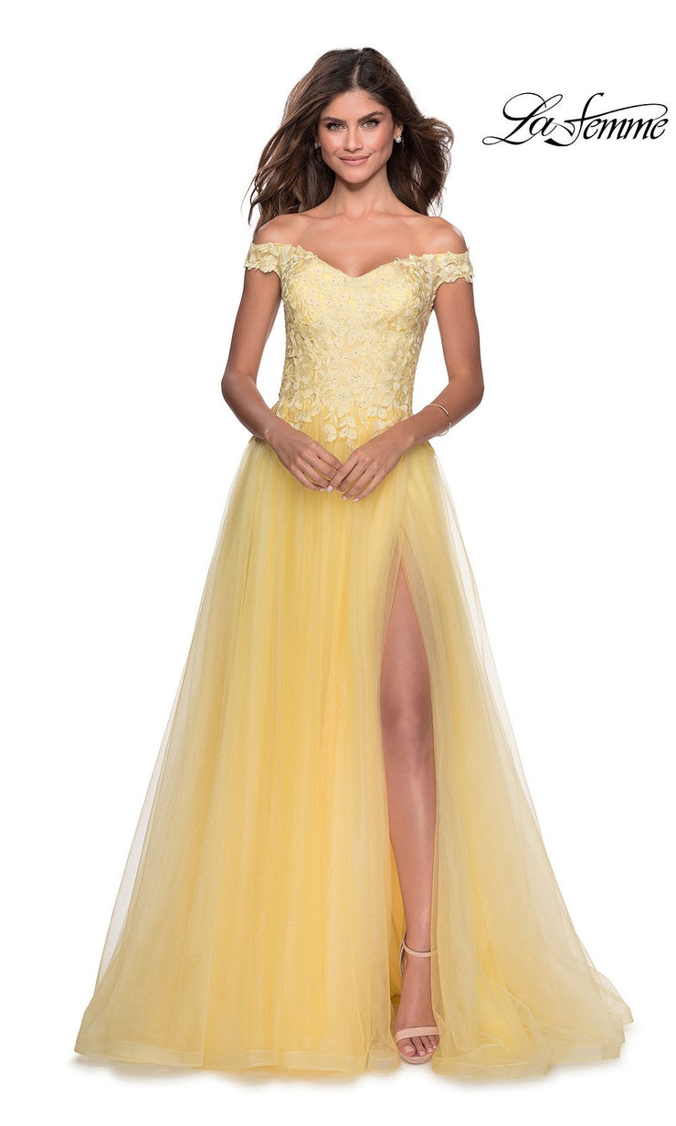La Femme LF 28598 long pale yellow prom flowy tulle prom dress with high slit, off shoulder neckline. This light yellow princess semi ballgown a-line formal full length evening gown is perfect for 2020 prom