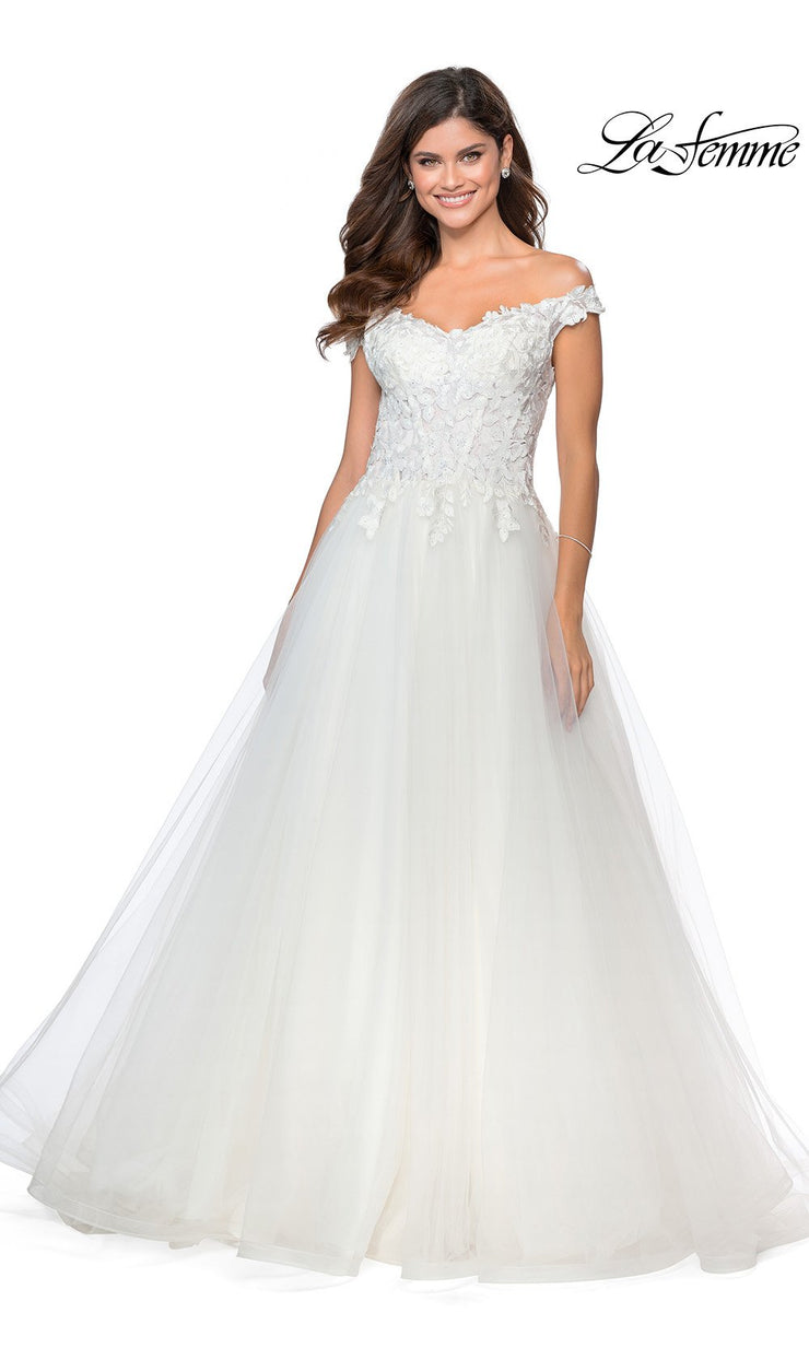 La Femme LF 28598 long white prom flowy tulle prom dress with high slit, off shoulder neckline. This white princess semi ballgown a-line formal full length evening gown is perfect for 2020 prom