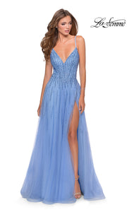 La Femme LF 28636 long cloud blue prom flowy chiffon beaded prom dress with high slit, v neck, & open back. This light blue a-line formal full length evening gown is perfect for 2020 prom dresses