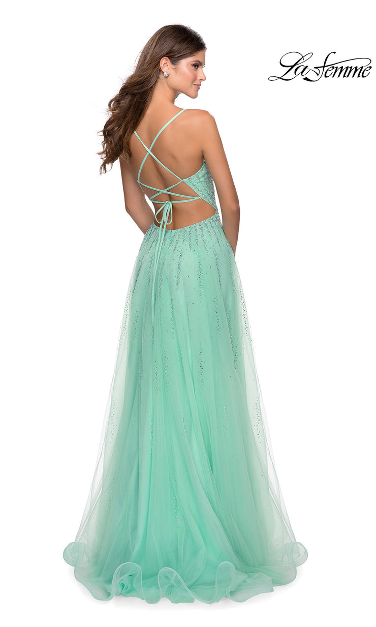 La Femme LF 28636 long mint green prom flowy chiffon beaded prom dress with high slit, v neck, & open back. Back of this light green a-line formal full length evening gown is perfect for 2020 prom dresses