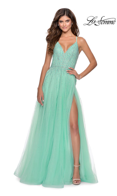 La Femme LF 28636 long mint green prom flowy chiffon beaded prom dress with high slit, v neck, & open back. This light green a-line formal full length evening gown is perfect for 2020 prom dresses