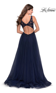 La Femme LF 28680 long navy blue prom flowy chiffon prom dress with high slit, v neckline with straps. Back of this dark blue a-line formal full length evening gown with leg slit, lace top & open back is perfect for 2020 prom dresses