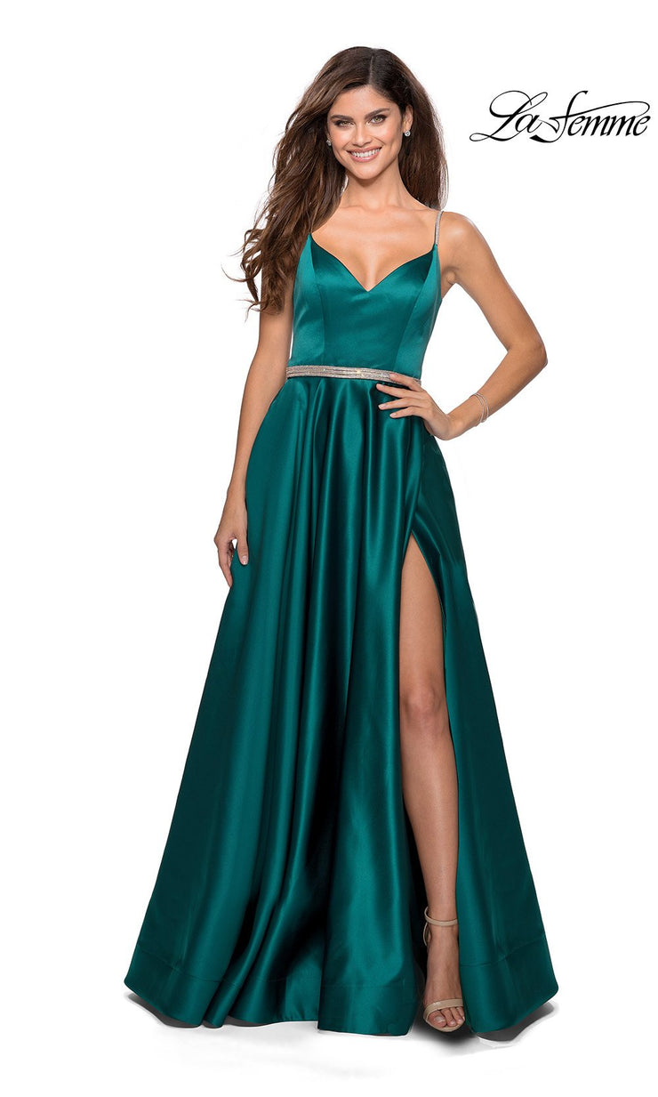 La Femme LF 28695 long emerald green prom flowy satin simple v neck prom dress with high slit, low v back. This dark green or hunter green a-line formal full length evening gown is perfect for 2020 prom dresses