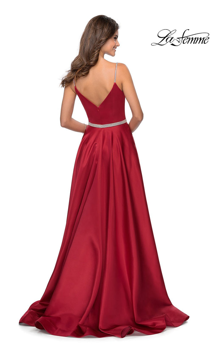 La Femme LF 28695 long red prom flowy satin simple v neck prom dress with high slit, low v back. Back of this red a-line formal full length evening gown is perfect for 2020 prom dresses