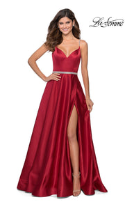 La Femme LF 28695 long red prom flowy satin simple v neck prom dress with high slit, low v back. This red a-line formal full length evening gown is perfect for 2020 prom dresses