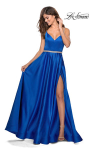 La Femme LF 28695 long royal blue prom flowy satin simple v neck prom dress with high slit, low v back. This bright blue a-line formal full length evening gown is perfect for 2020 prom dresses