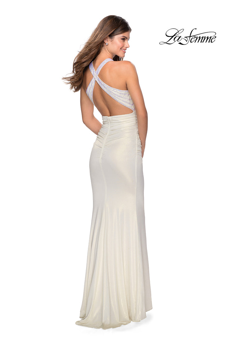 La Femme LF 28745 long white prom tight fitted sexy prom dress with open back. Back of this white sleek and sexy, low back formal full length evening gown is perfect for 2020 prom