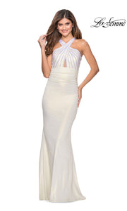 La Femme LF 28745 long white prom tight fitted sexy prom dress with open back. This white sleek and sexy, low back formal full length evening gown is perfect for 2020 prom
