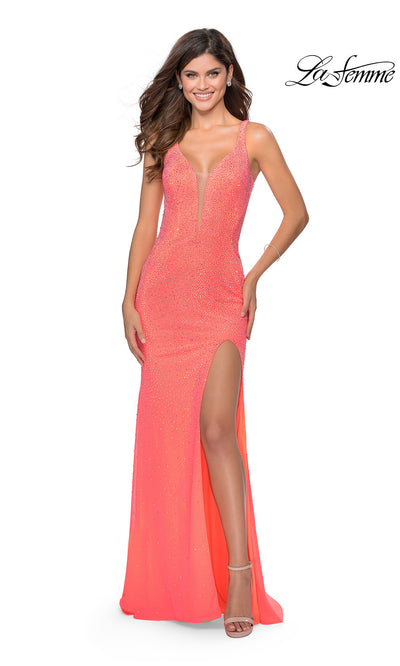 La Femme LF 28760 long neon coral prom tight fitted sexy prom dress with open back. Bright orange or Neon orange sleek and sexy, low back formal full length evening gown is perfect for 2020 prom