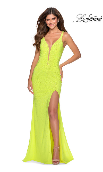 La Femme LF 28760 long neon yellow prom tight fitted sexy prom dress with open back. Bright yellow or highlighter yellow sleek and sexy, low back, high slit formal full length evening gown is perfect for 2020 prom