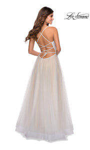 La Femme LF 28764 long white prom flowy tulle prom dress with high slit, open back, straight. Back of this white princess semi ballgown a-line formal full length evening gown is perfect for 2020 prom