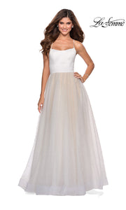 La Femme LF 28764 long white prom flowy tulle prom dress with high slit, open back, straight. This white princess semi ballgown a-line formal full length evening gown is perfect for 2020 prom