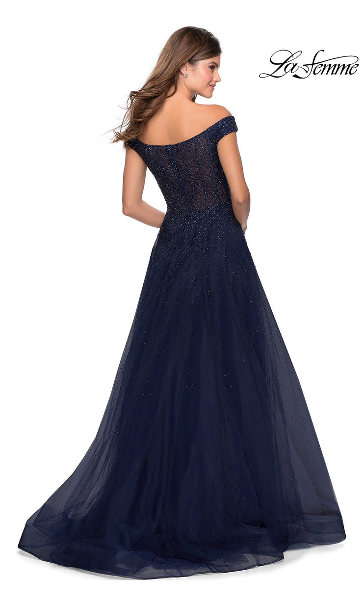 La Femme LF 28774 long navy blue prom flowy tulle prom dress with high slit, off shoulder neckline. Back of this dark blue a-line formal full length evening beaded gown is perfect for 2020 prom dresses