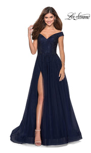 La Femme LF 28774 long navy blue prom flowy tulle prom dress with high slit, off shoulder neckline. This dark blue a-line formal full length evening beaded gown is perfect for 2020 prom dresses