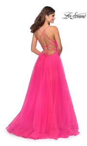 La Femme LF 28893 long neon pink prom flowy chiffon prom dress with high slit, v neck, & open back. Back of this hot pink or bright pink a-line formal full length evening gown is perfect for 2020 prom dresses