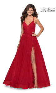La Femme LF 28893 long red prom flowy chiffon prom dress with high slit, v neck, & open back. This red a-line formal full length evening gown is perfect for 2020 prom dresses