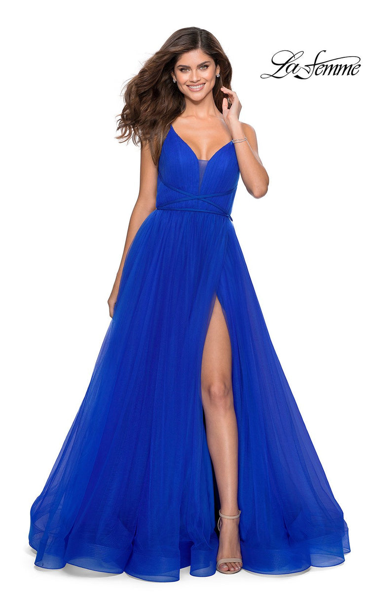 La Femme LF 28893 long royal blue prom flowy chiffon prom dress with high slit, v neck, & open back. This bright blue a-line formal full length evening gown is perfect for 2020 prom dresses