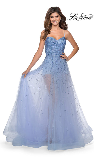 La Femme LF 28902 long lilac mist prom flowy chiffon prom dress with high slit, v neck, & low back. This light blue a-line see through dress with shorts is a formal full length evening gown is perfect for 2020 prom dresses