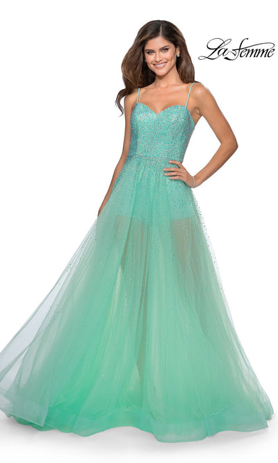 La Femme LF 28902 long mint green prom flowy chiffon prom dress with high slit, v neck, & low back. This light green a-line see through dress with shorts is a formal full length evening gown is perfect for 2020 prom dresses