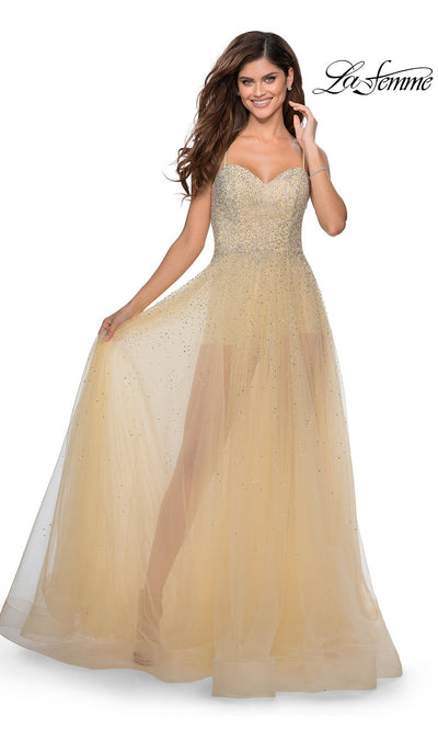 La Femme LF 28902 long nude prom flowy chiffon prom dress with high slit, v neck, & low back. This light champagne a-line see through dress with shorts is a formal full length evening gown is perfect for 2020 prom dresses