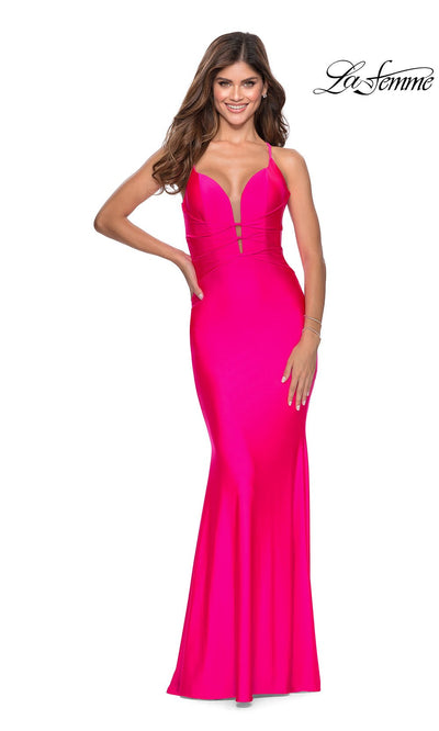 La Femme LF 28905 long neon pink prom tight fitted sexy prom dress with open back. This hot pink or bright pink sleek and sexy, low back formal full length evening gown is perfect for 2020 prom