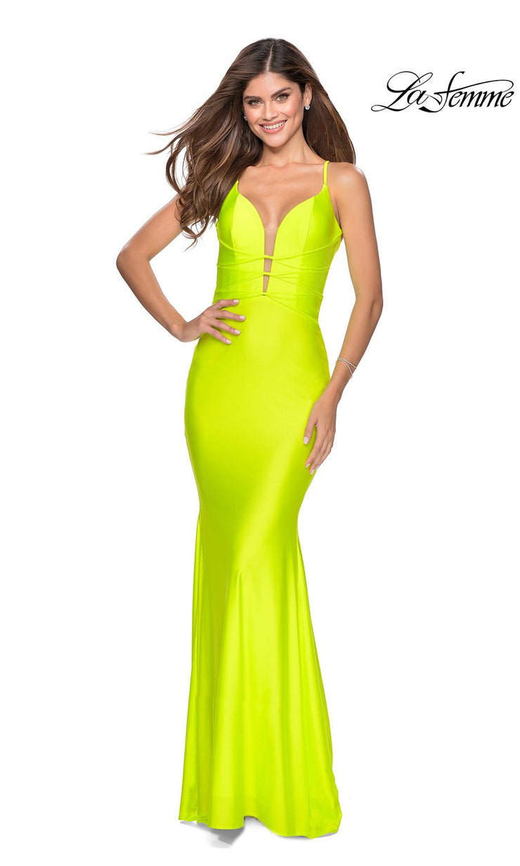 La Femme LF 28905 long neon yellow prom tight fitted sexy prom dress with open back. This bright yellow sleek and sexy, low back formal full length evening gown is perfect for 2020 prom