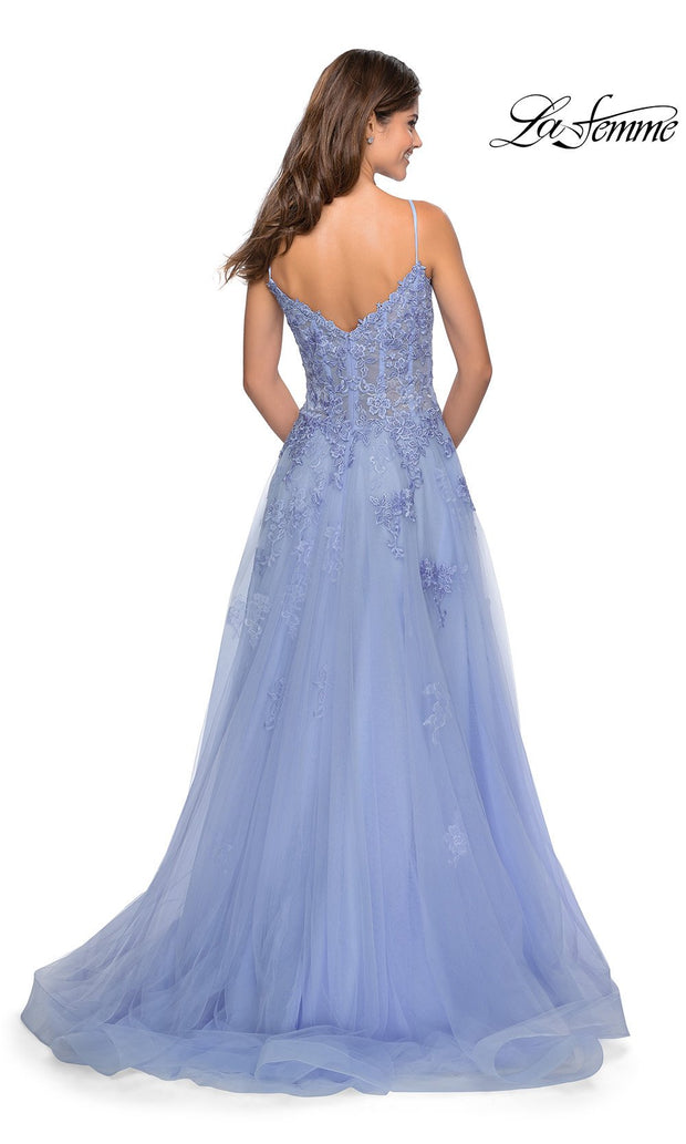 La Femme LF 28952 long lilac mist prom flowy chiffon prom dress with high slit, v neck, & low v back. Back of this light blue a-line dress with formal full length evening gown is perfect for 2020 prom dresses