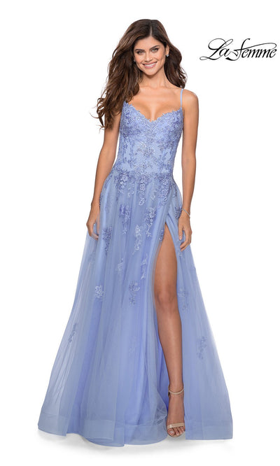 La Femme LF 28952 long lilac mist prom flowy chiffon prom dress with high slit, v neck, & low v back. This light blue a-line dress with formal full length evening gown is perfect for 2020 prom dresses