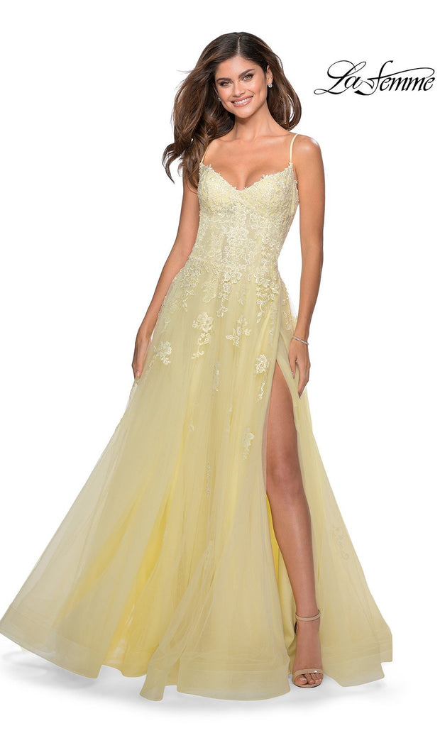 La Femme LF 28952 long pale yellow prom flowy chiffon prom dress with high slit, v neck, & low v back. This light yellow a-line dress with formal full length evening gown is perfect for 2020 prom dresses