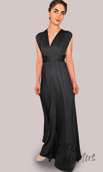 Long Black infinity bridesmaid dress or multiway dress or convertible dress.One dress worn in multiple ways. This black one size dress is perfect for bridesmaid, prom, destination wedding, gala, cheap western party dress, semi formal, cocktail