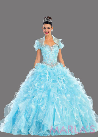 Long aqua princess ball gown with ruffled skirt and shrug. Perfect for Engagement dress, Quinceanera, Sweet 16, Swet 15 and light blue Wedding Reception Dress. Available in plus sizes